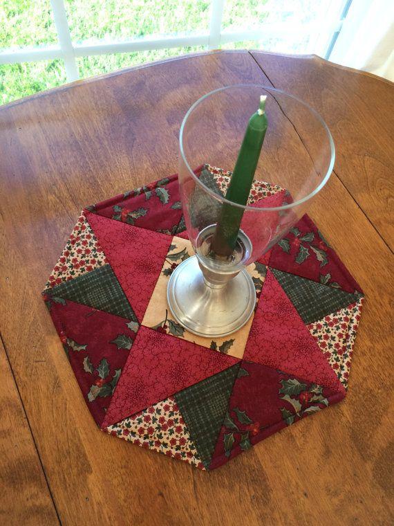 Weihnachten-rot Grün & Beige genäht und gesteppt Tischläufer ...