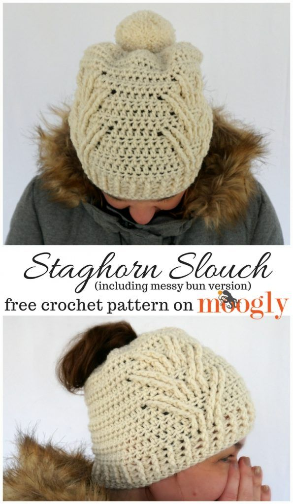 Staghorn Slouch - free crochet pattern for both Pom and Messy Bun ...