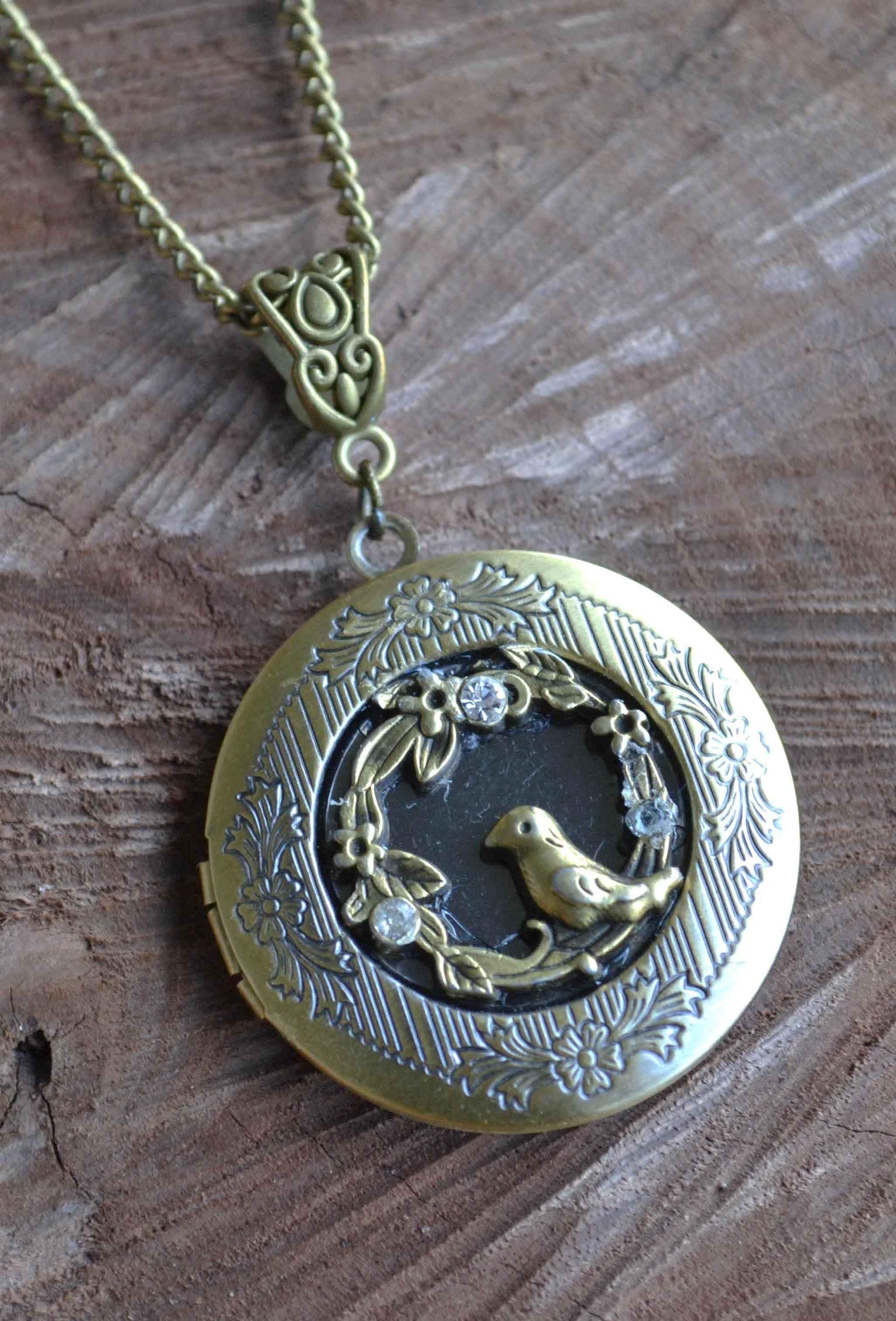 Antiqued Dragon Locket Dragon Locket Photo Locket Round Dragon Locket