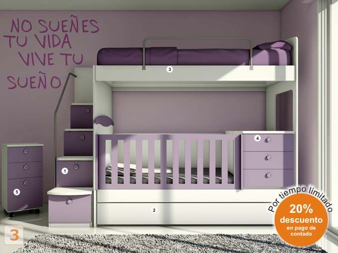 Mueble: (Código B37) bebes-cunas-muebles-juveniles-hogar-bebe - AGIOLETTO, Muebles Infantiles, Muebles Juveniles