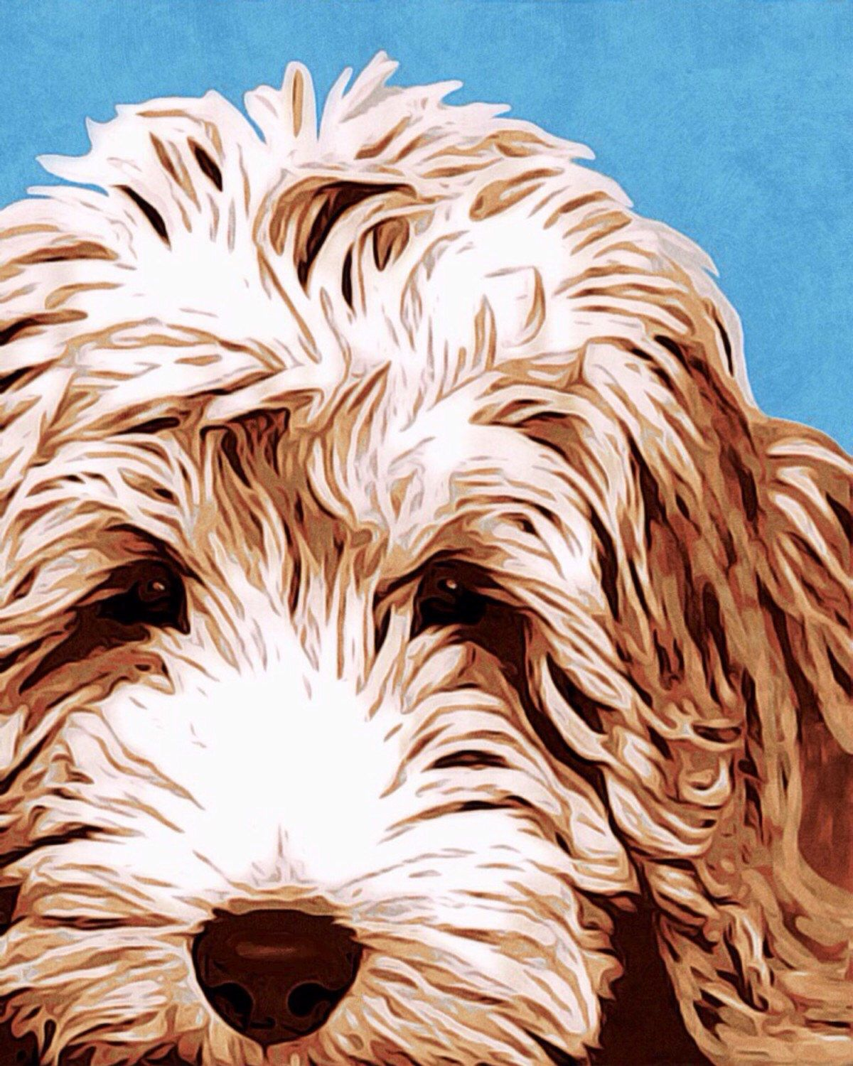 Art collectible painting acrylic labradoodle brown giclee
