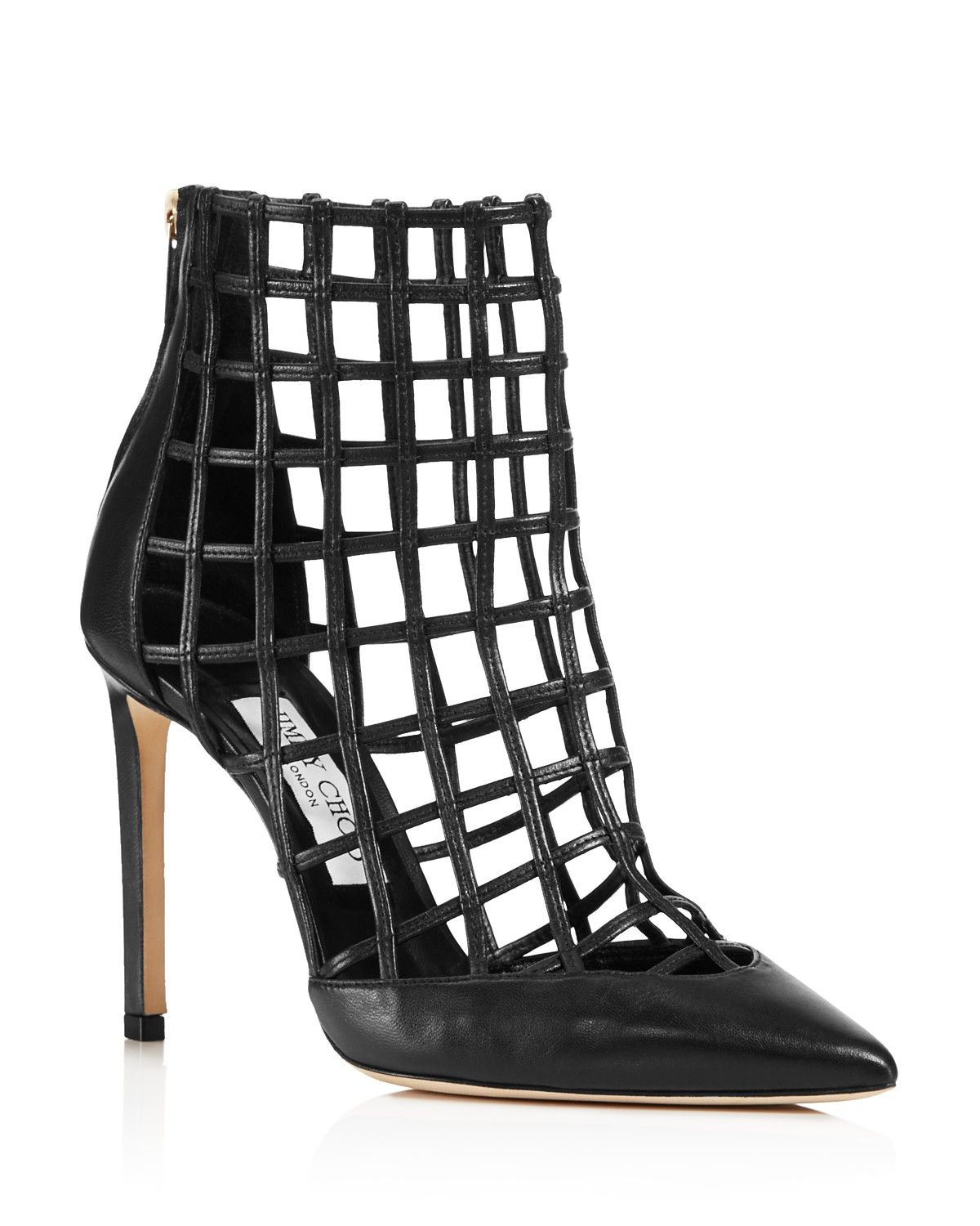 6338e36581c3 Jimmy Choo Women s Sheldon 100 Caged Leather High Heel Booties PRICE ...