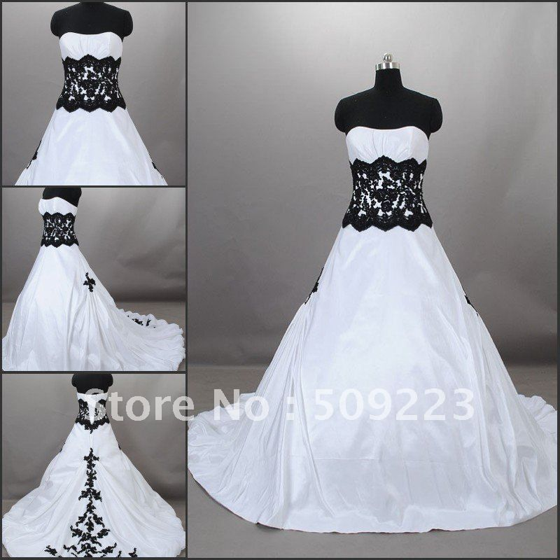 Elegant strapless ball gown floor length court train white satin embroidery black and white bridesmaid dresses