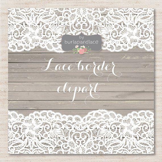 Lace wedding invitation. Border rustic frame clipart