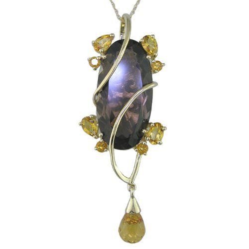 10 CT Smoky Quartz Fashion Pendant in Sterling Silver with