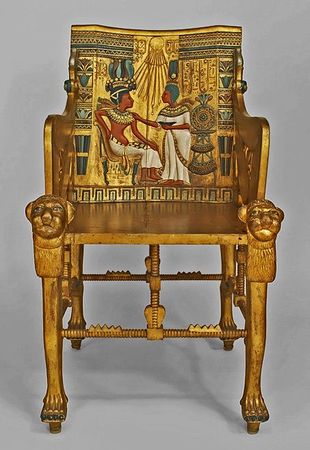 egyptian revival polychrome carved throne chair a replica. Black Bedroom Furniture Sets. Home Design Ideas