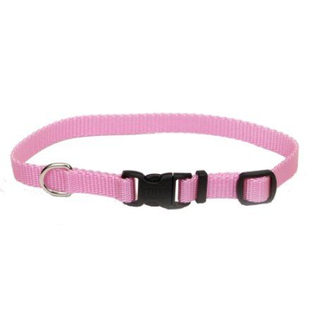 Adjustable Nylon 3/8 inch Dog Collar with Tuff Buckle-Pink, Neck Size 8 inch-12 inch, Pink