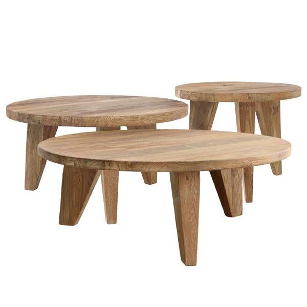 robuste et solide table basse hk vivre teck a fait trois grosses pattes larges en dessous et une feuille epaisse parfaitement dans tous les decors