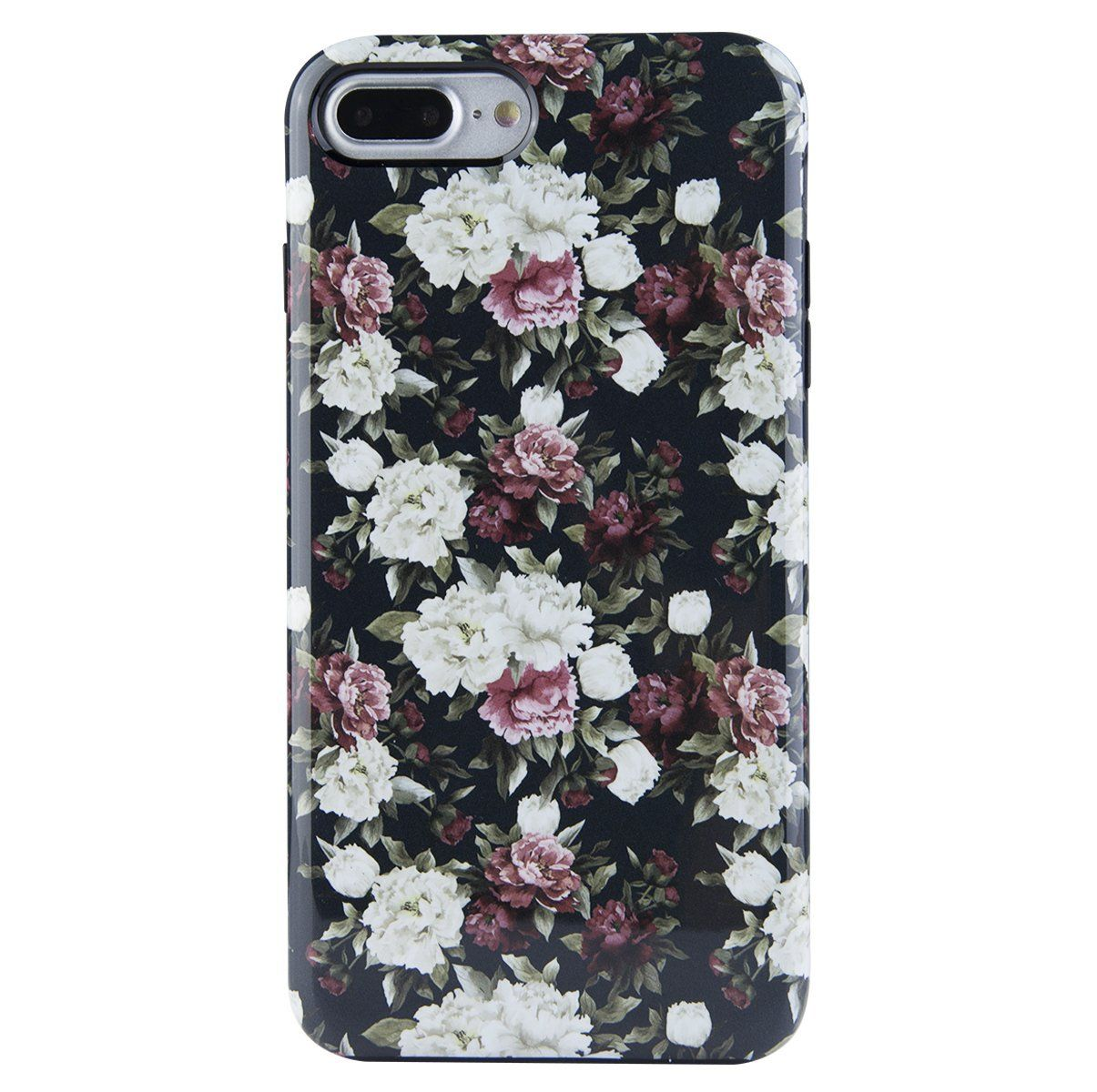 65d2fb31fa86 iPhone 7 Plus Case, iPhone 8 Plus Case for Girls, Dimaka Cute Floral Print  Pattern Protective Case 2 Layer Parts Hybrid Cover for iPhone 7 Plus and iPhone  8 ...
