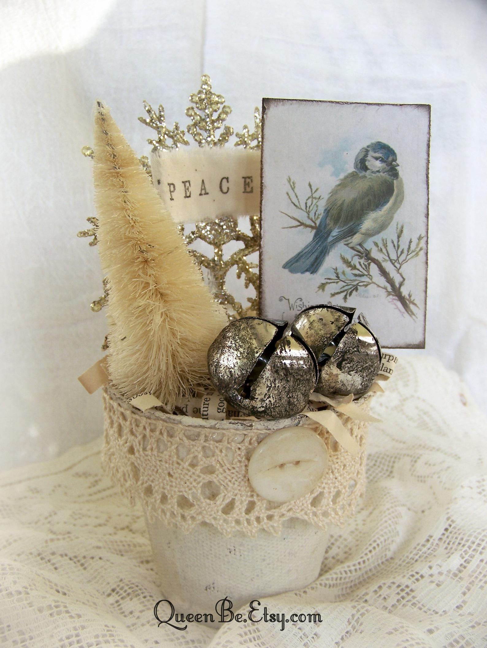 Items similar to Winter White Decor Handmade Christmas Decoration Vintage Christmas Decor Shabby White Peat Pot Vintage Bird Decor Altered Pot Winter White on Etsy