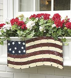 Handmade Recycled Metal Butterfly And Flag Window Box Decorations