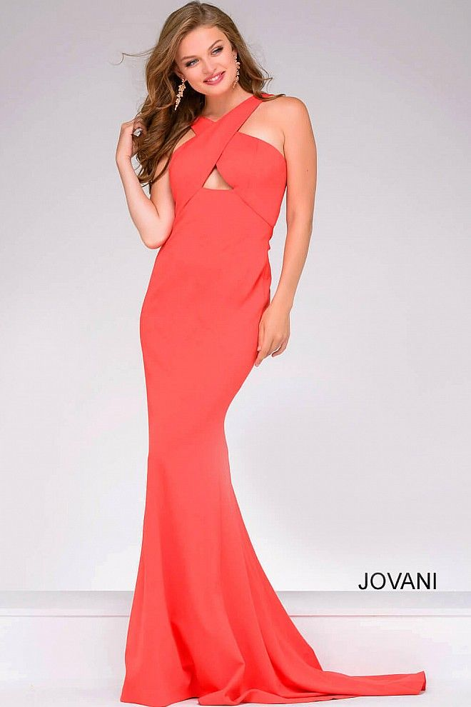 Simple orange form fitting floor length ponte dress with a criss-cross neckline and a low back, also available in fuchsia, green, gunmetal, peacock, red and yellow.