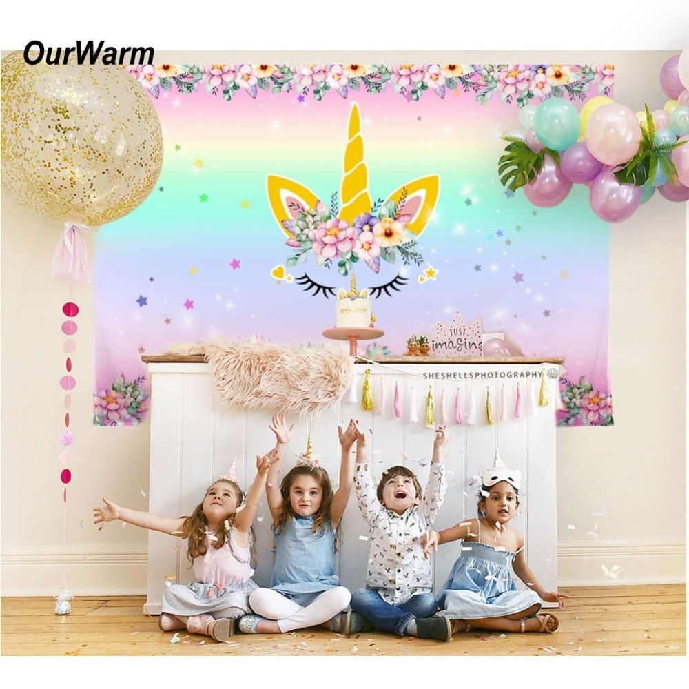 Wedding decorations background  OurWarm Xcm Unicorn Party Backdrop Birthday Party Decorations