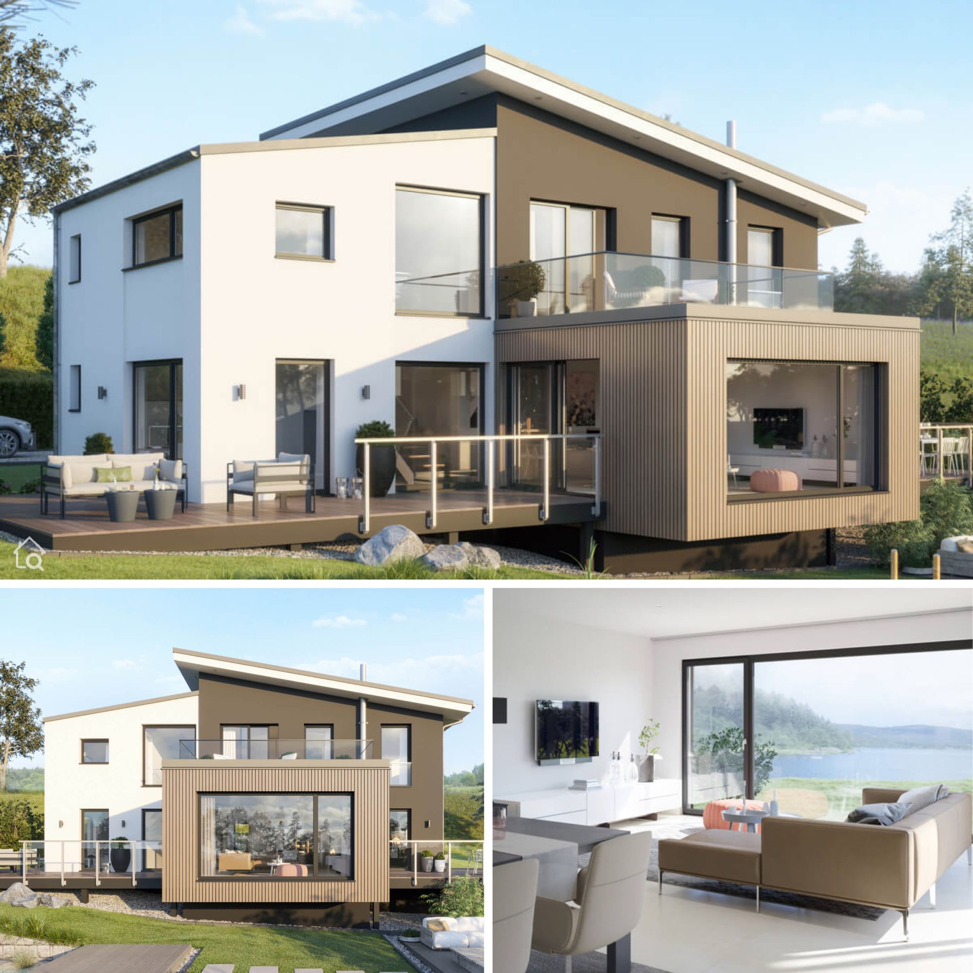 Modernes Fertighaus mit Pultdach, XL Wintergarten Erker