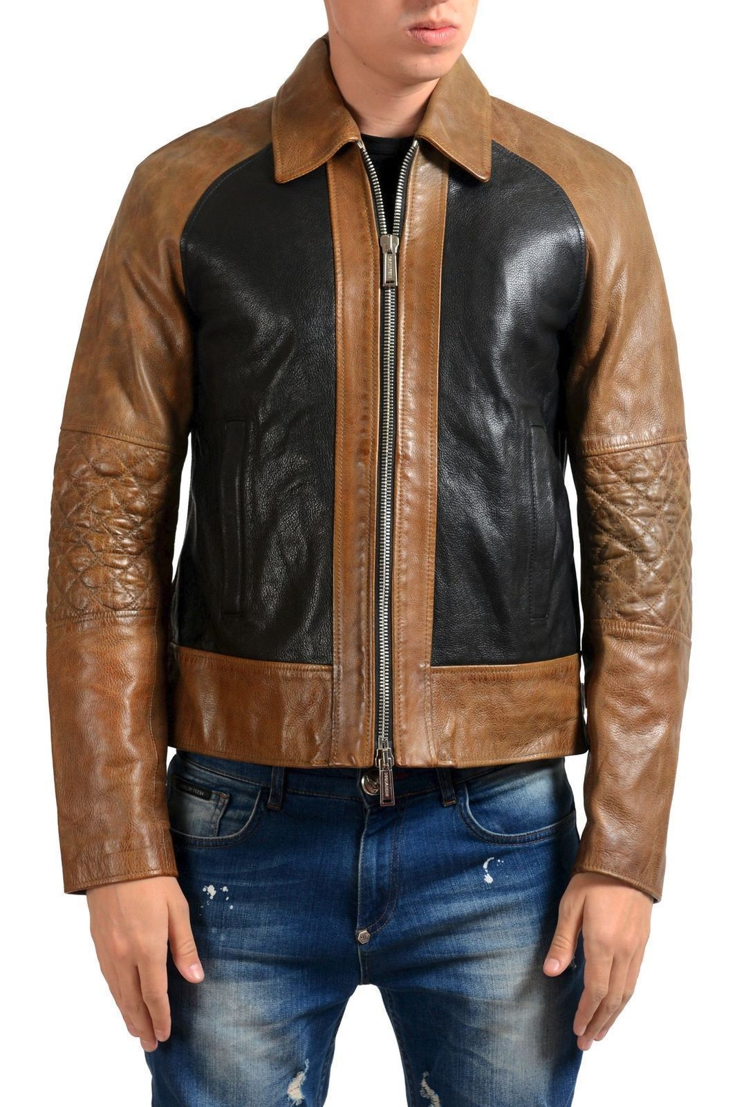 Men Brown Black Branded Motorbike Leather Jacket, Classic