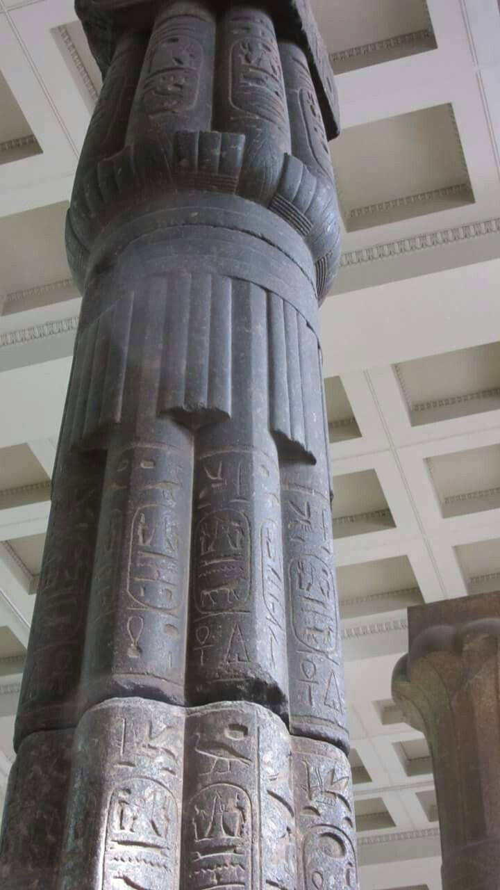 Egyptian column made of grey granite from the 18th Dynasty.Located at the British Museum, London.