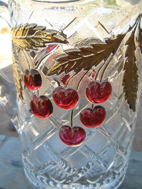 Vintage Cherry and Cable Glass Pitcher .