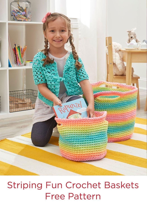 Striping Fun Baskets Free Crochet Pattern Red Heart Super Saver ...