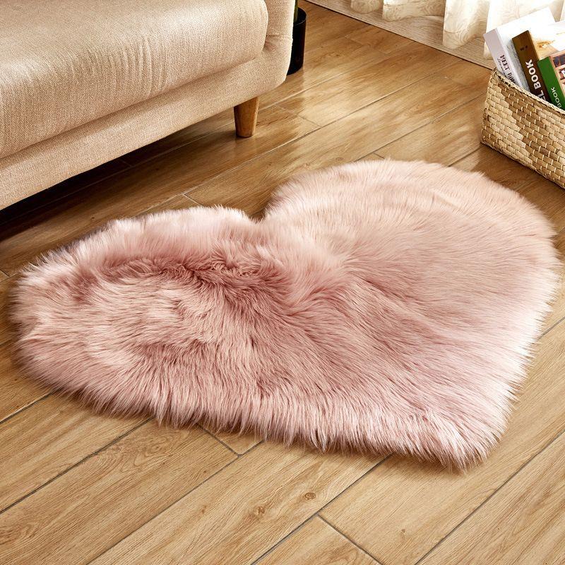 Heart Shaped Artificial Fur Rug Carpet Mat Bedroom Carpet Bedroom Flooring Cushions On Sofa