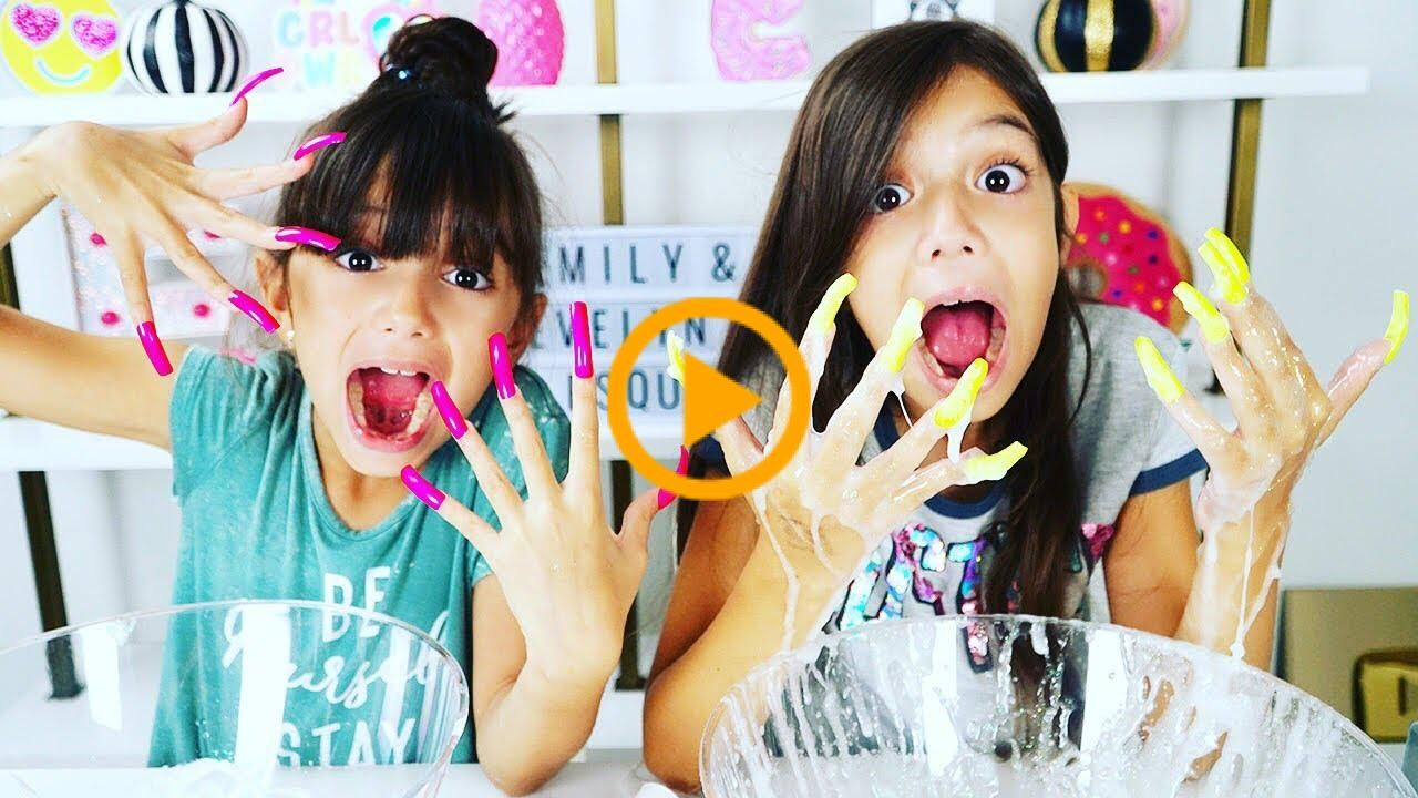 Don 39 T Make Slime With Super Long Acrylic Nails Challenge Emily And Evelyn Acrylic Challenge Don39t Emily Ev In 2020 Long Acrylic Nails Acrylic Nails Evelyn