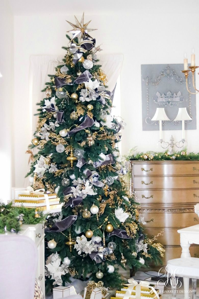 Gray white and gold Christmas tree with