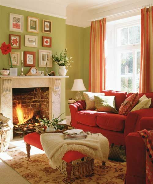 Fine Green Traditional Living Room In Grey Tones And Lime