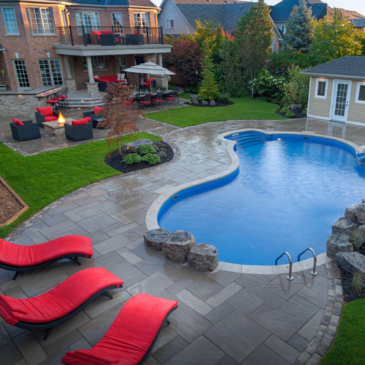 Inground Onground And Above Ground Pools Pioneer Pools Pools Backyard Inground Backyard Pool Landscaping Inground Pool Landscaping