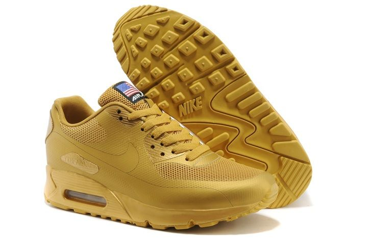 2014 New Nike Air Max 90 Hyperfuse QS Mens Shoes All Gold