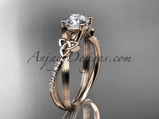 14kt rose gold diamond celtic trinity knot wedding ring