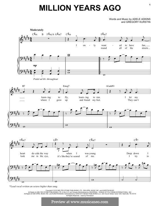 Million Years Ago In 2019 Music I Love Sheet Music