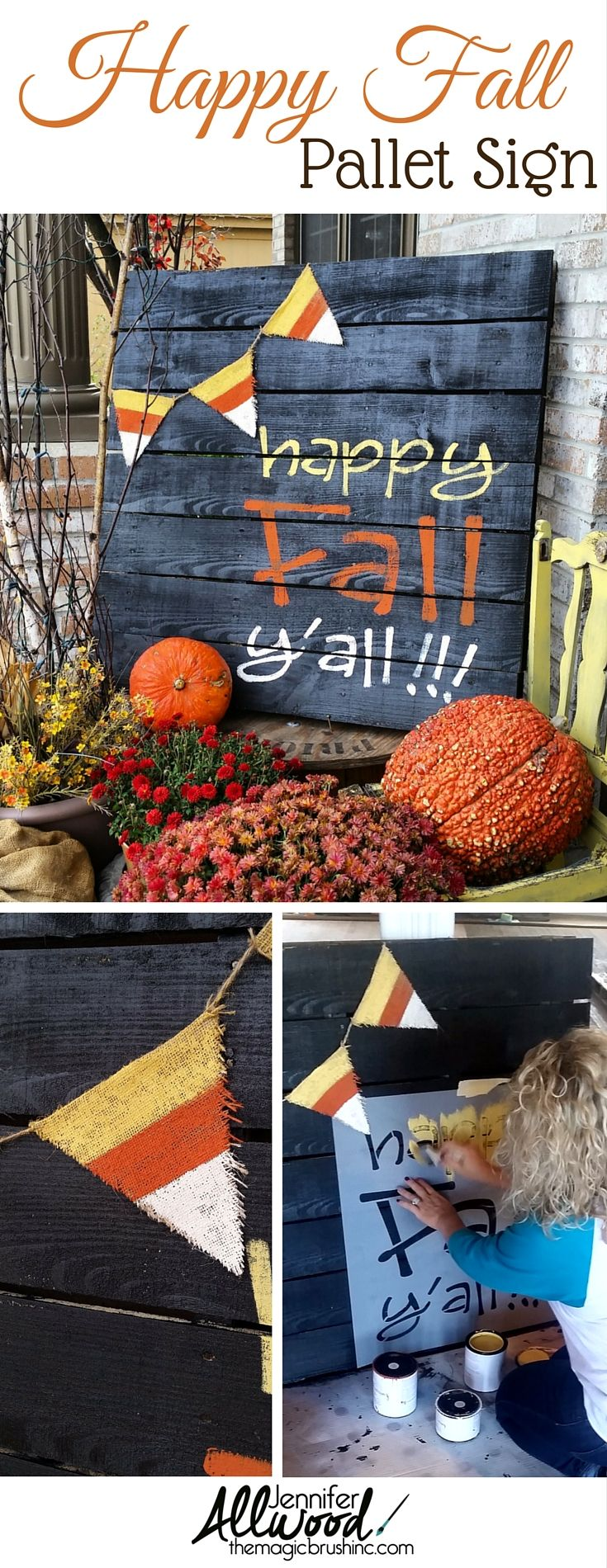 Ideas : Happy Fall Y'all painted pallet for your front porch! This is an adorable idea for your harvest themed decorations. More DIY projects and painting tips at theMagicBrushinc.com