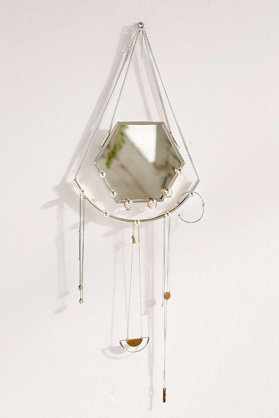 Hexagon Hanging Mirror Jewellery Organizer Home Pinterest