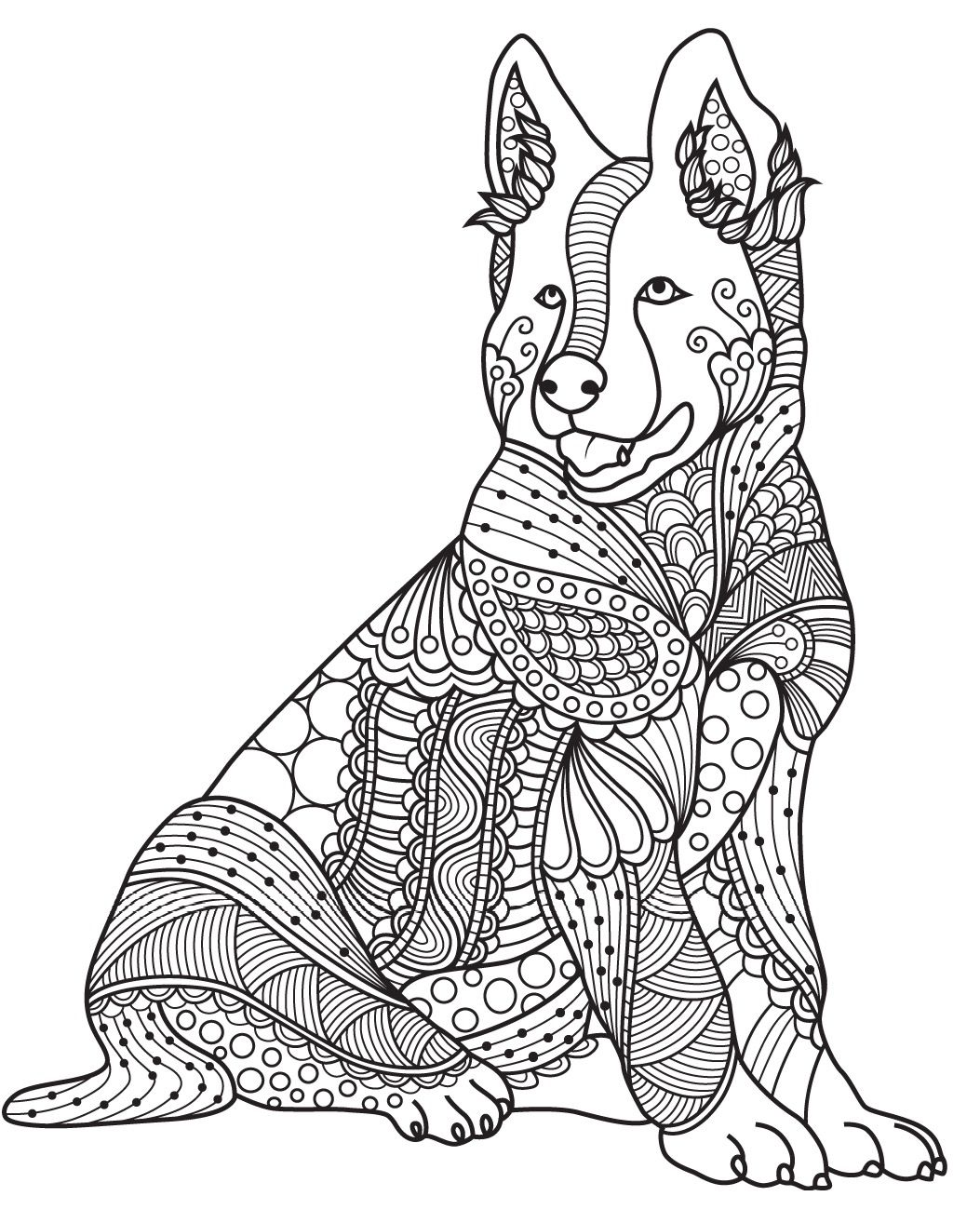 Dog Pictures To Color For Adults
