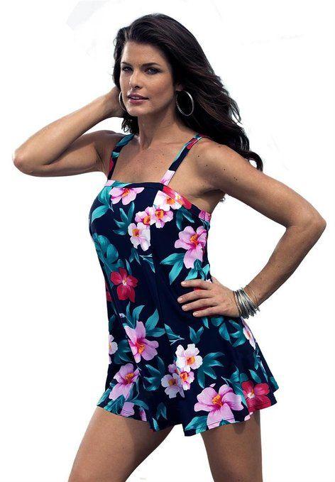345dcc0ee2299 Roamans Women's Plus Size Print Swimdress (Floral Print,22 W ...