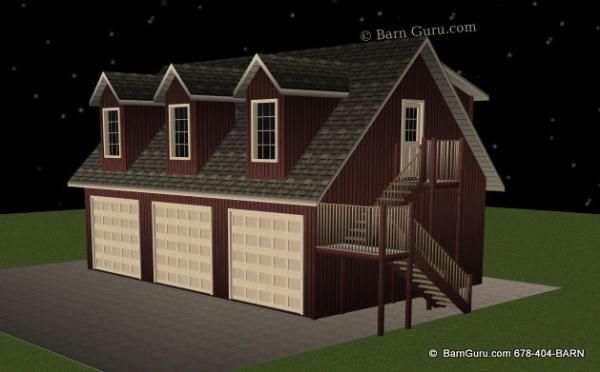 3 car garage with 1 bedroom living quarters barn guru for Garage designs with living quarters