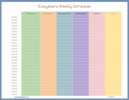 Schedule Template – Weekend Scheduled Template