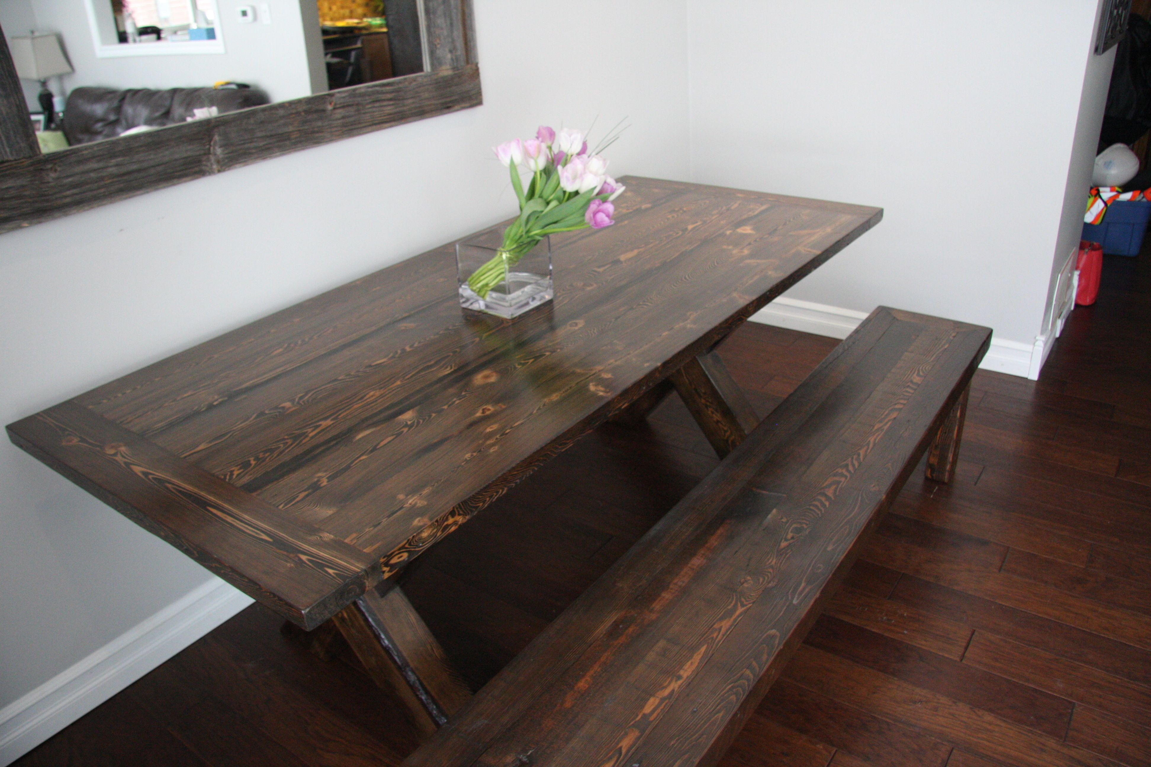 reclaimed walnut trestle wood bench pinterest products pin