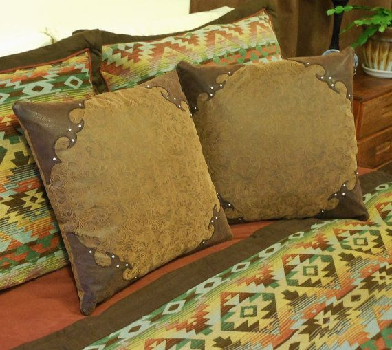 Western Tooled Leather Pillow Rustic Southwestern By