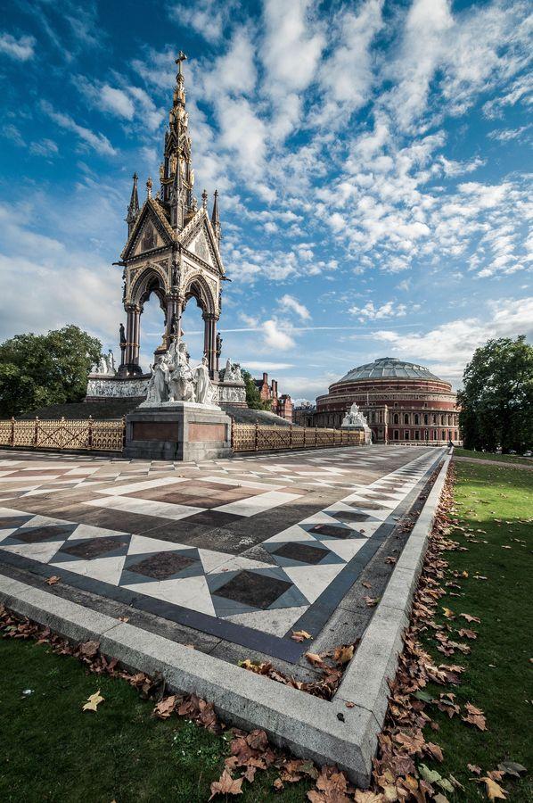 London. Albert memorial and Royal Albert Hall(Portrait ...