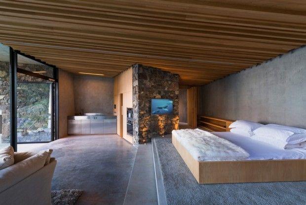 Bett, Wohnen, Cottage Schlafzimmer, Haus Innenräume, Neuseeland, Kleine  Häuser, Ferienhäuschen, Felsen, Innenarchitektur