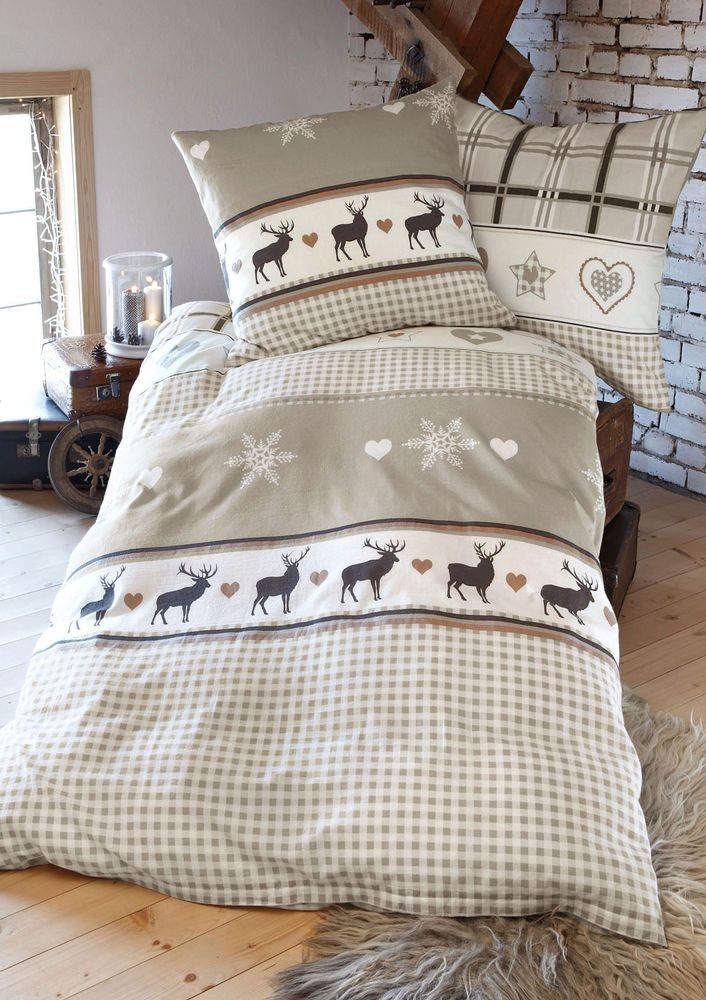 deer snowflakes sheets wohntraum collection heine bettw sche im wohnen shop auf. Black Bedroom Furniture Sets. Home Design Ideas