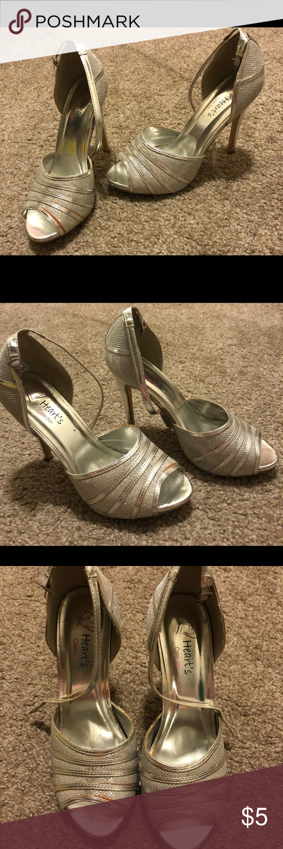 Used Silver High Heels Size 8 Some Color Chipping But Nothing Some Silver Paint Furniture Marker Can T Sparkly Silver High Heels Silver High Heels Heart Shoes