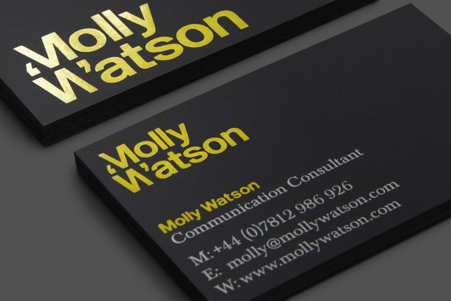 New logo for molly watson by studio blackburn bpo detail design logotype and business card with yellow foil detail designed by studio blackburn for communications specialist molly reheart Image collections