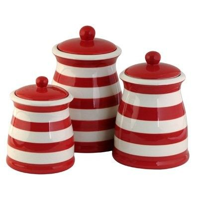 Red White Stiped Ceramic Kitchen Canister Set Super Cute For My Kitchen Red Kitchen Accessories Red And White Kitchen Red Kitchen Canisters