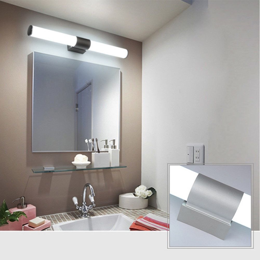 Modern Bathroom Vanity Led Light Acrylic Front Mirror Toilet Wall