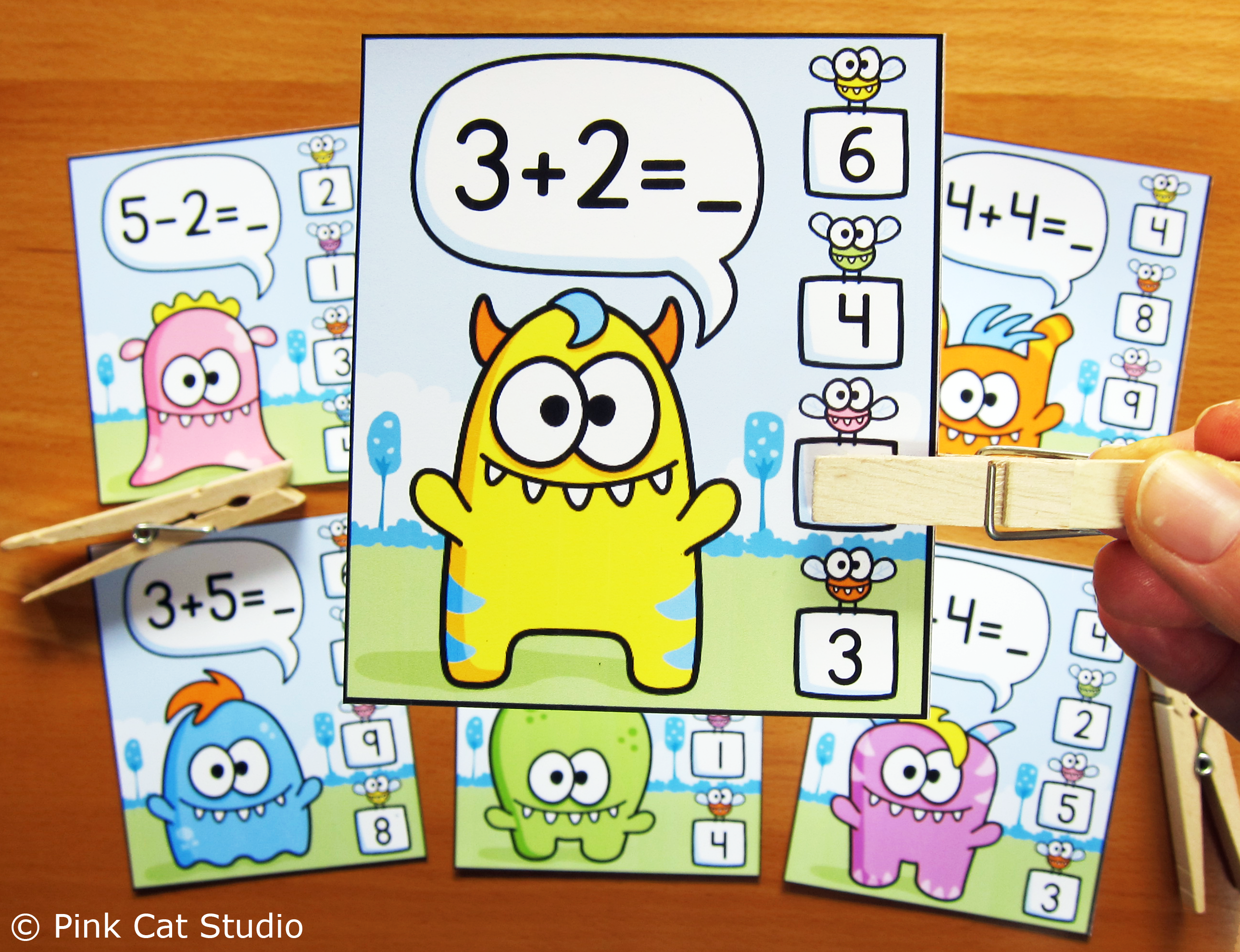 Monster Theme Addition Amp Subtraction Clip Cards