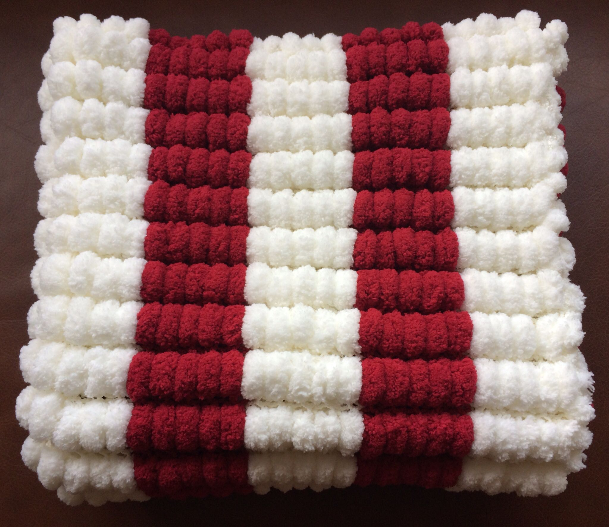 Striped baby blanket in marshmallow pom pom wool. By www.fb.com ...