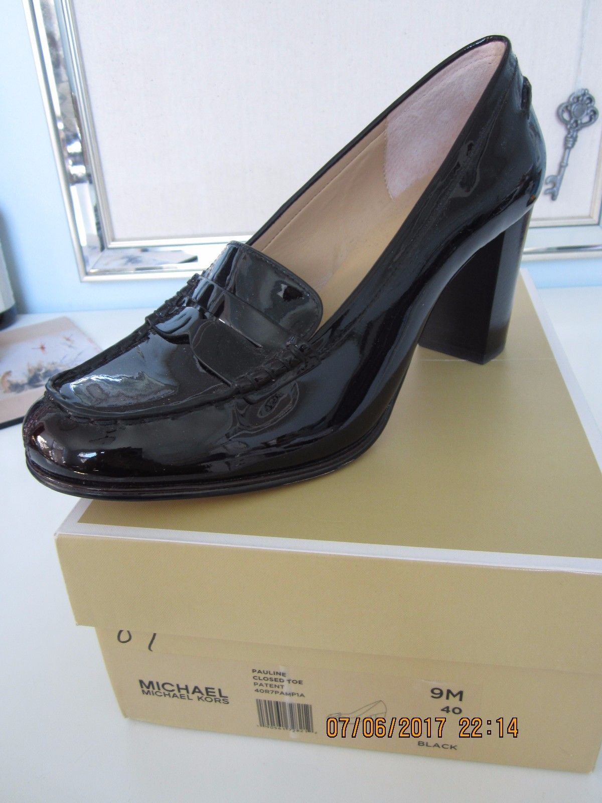 1d6fc09acd08 MICHAEL KORS Bayville Penny Loafer Pumps Patent Leather Shoes Plum 9.5 M