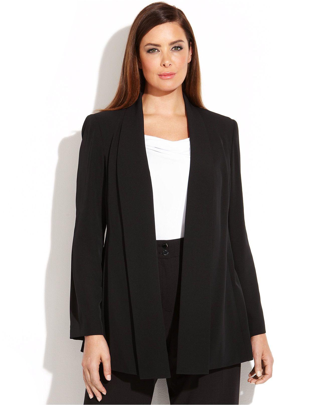 workwear // Calvin Klein Plus Size Open-Front Soft Jacket - Plus Size Sale & Clearance - Plus Sizes - Macy's