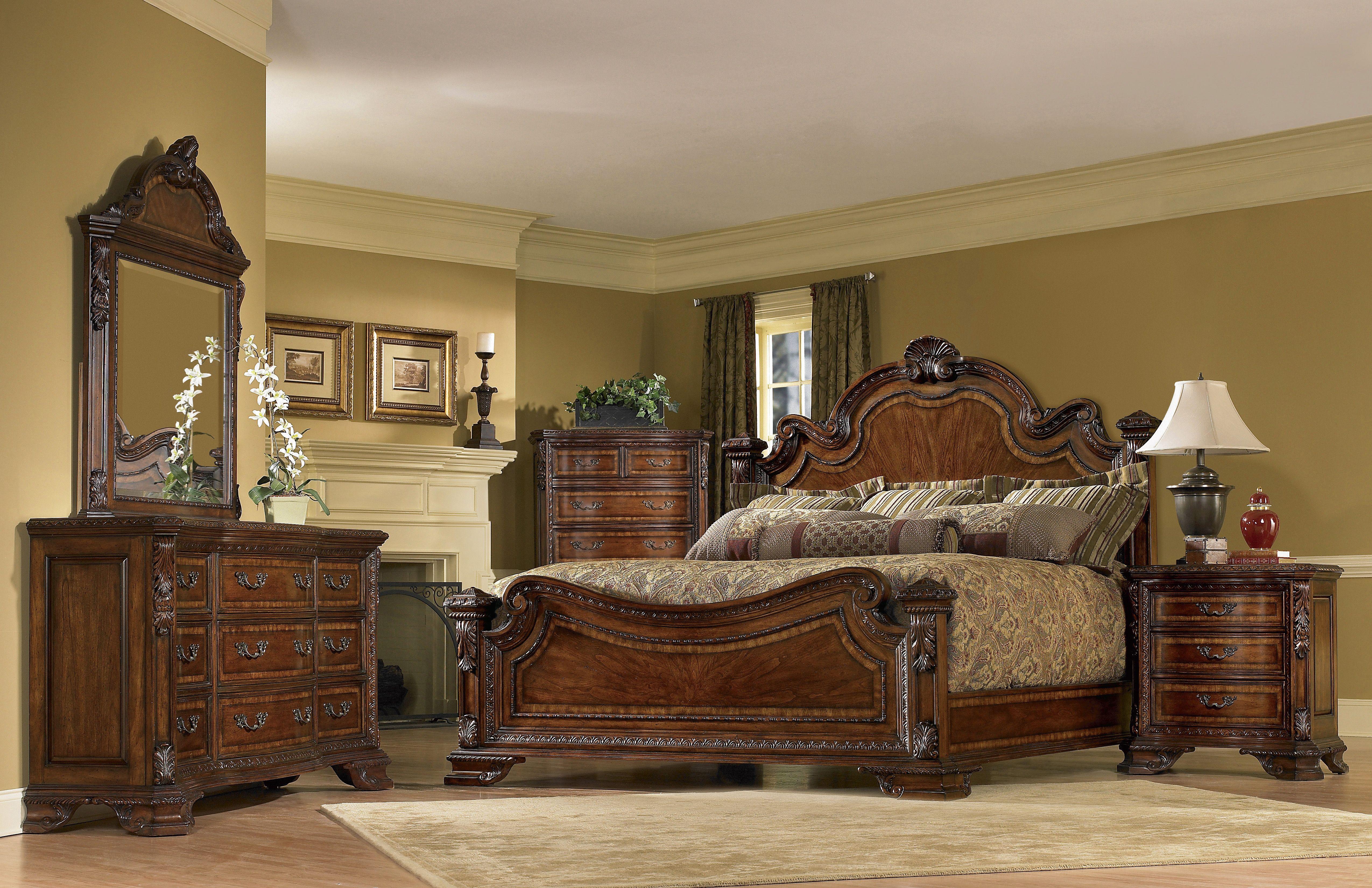 king size bedroom sets | AICO 6pc Windsor Court King Size Bedroom ...